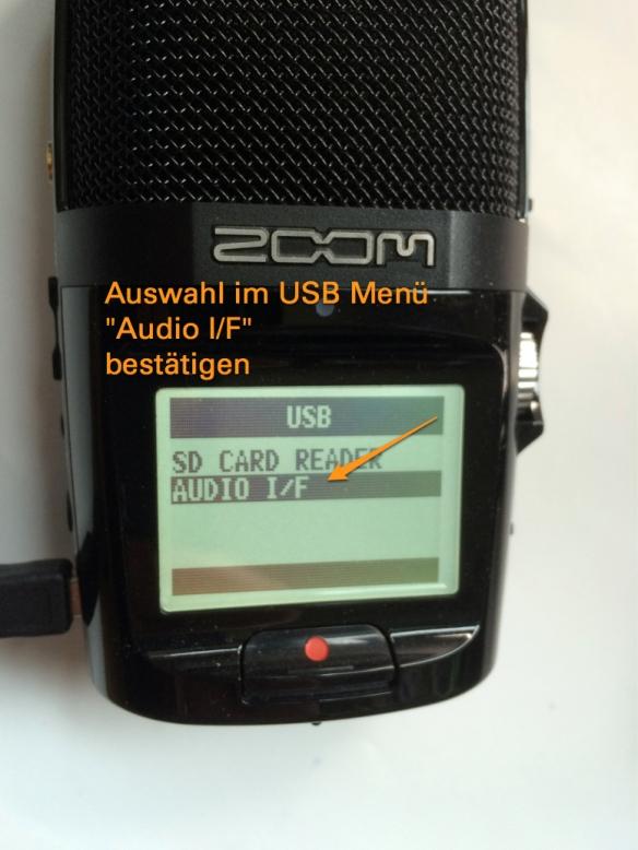 Einstellung am Zoom H2n / Auswahl im USB Menü