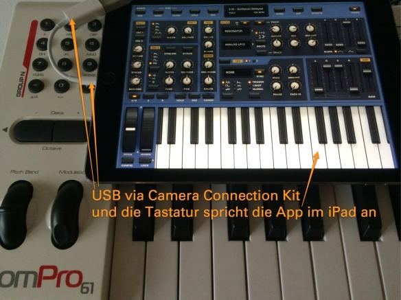 iPad auf dem Midi-Keyboard AxiomPro