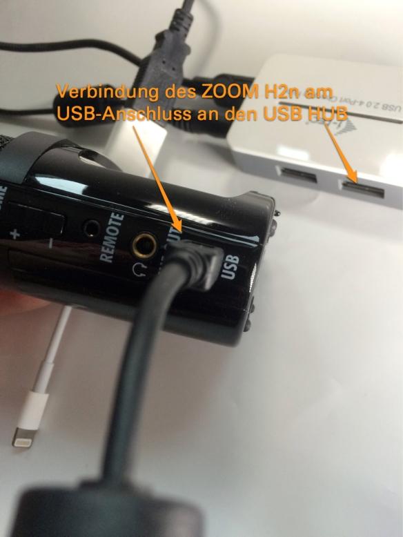 Verbindung des ZOOM H2n mit einem USB Kabel
